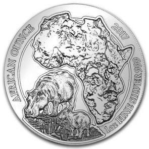 1 oz Silver Rwanda African Hippo Coin 2017