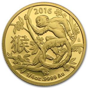 1/4 oz Gold Royal Australian Mint Monkey Coin 2016