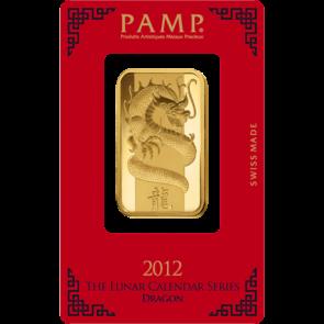 1 oz Gold PAMP Suisse Dragon Bar