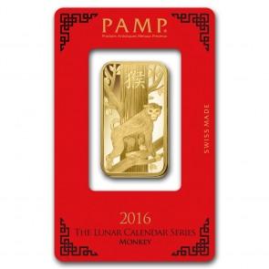 1 oz Gold PAMP Suisse Lunar Monkey Bar