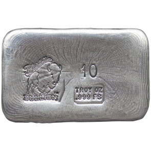 10 oz Silver Bison Bullion Handpoured Bar