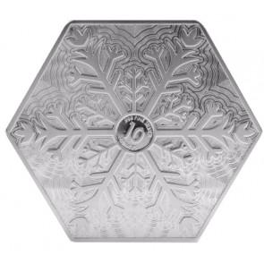 10 oz Silver Snowflake Hexagon Bar