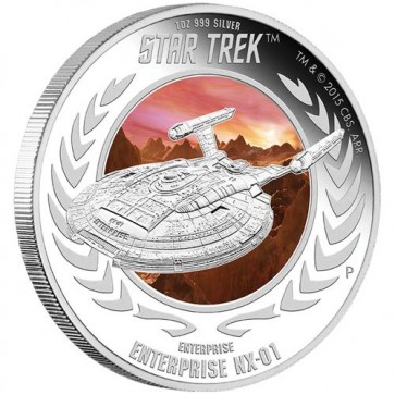 1 oz Silver Star Trek: Enterprise NX-01 Proof Coin 2015