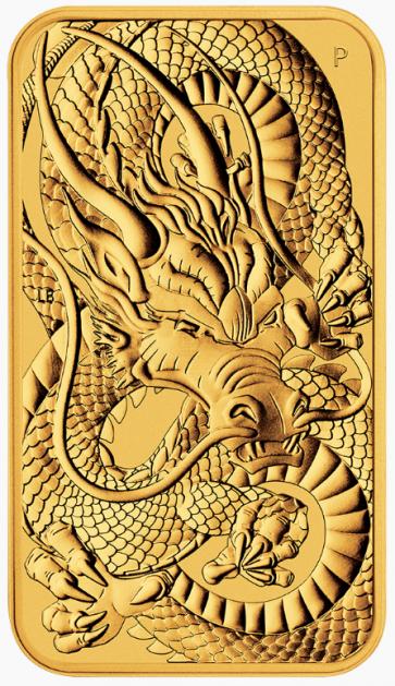 1 oz Gold Perth Mint Australian Dragon Rectangular Coin 2021