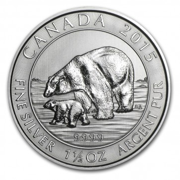 1.5 oz Silver Polar Bear and Cub Coin 2015