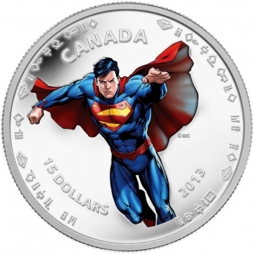 1/2 oz Silver Modern Day 75th Anniversary of Superman $15 Coin 2013