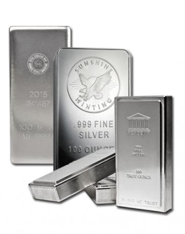 Various 100 oz Silver bars