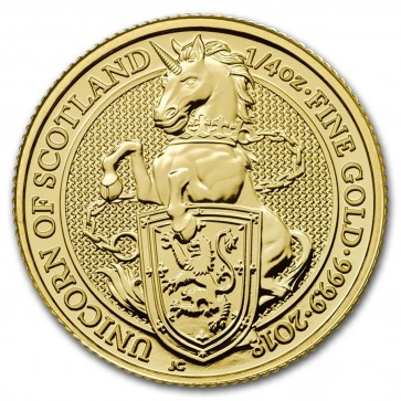 1/4 oz Gold Queen's Beast - The Unicorn Coin 2018