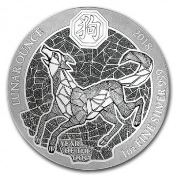 1 oz Silver Rwanda Dog Coin 2018