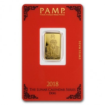 5 gram Gold PAMP Suisse Dog Bar