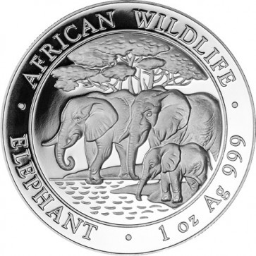 1 oz Silver Somalian Elephant Coin 2013