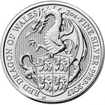 2 oz Silver Queen's Beast - The Dragon Coin 2017