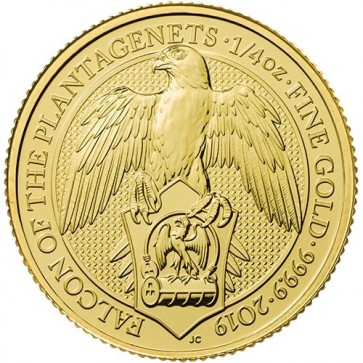 1/4 oz Gold Queen's Beast Falcon of the Plantagenets Coin 2019