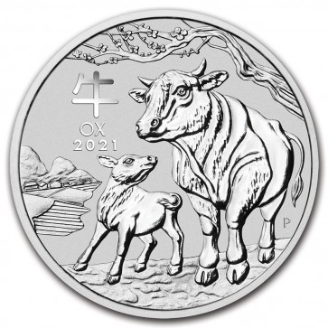 1/2 oz Silver Perth Mint Lunar Ox (Series III) Coin 2021