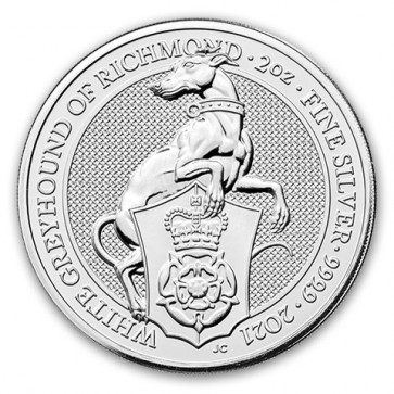 2 oz Silver Queen's Beasts The White Greyhound Coin 2021