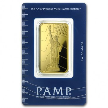1 oz Gold PAMP Suisse Statue of Liberty Bar