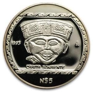 1 oz Silver Mexico Carita Sonriente Proof Coin 1993