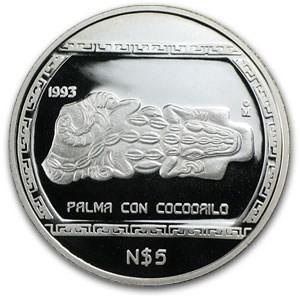 1 oz Silver Mexico Palma Con Cocodrilo Proof Coin 1993