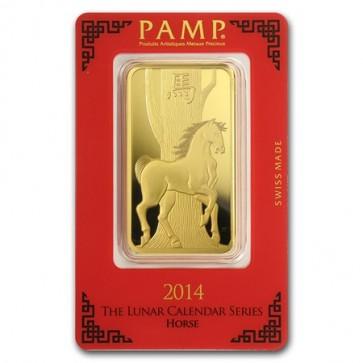 100 gram Gold PAMP Suisse Horse Bar