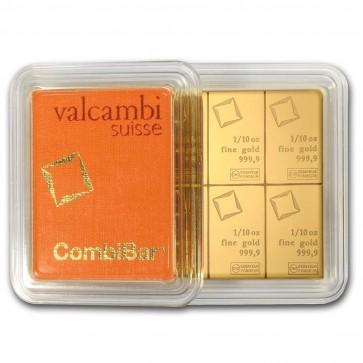 10 x 1/10 oz Gold Valcambi CombiBar