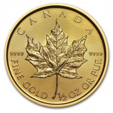 1/2 oz Gold Canadian Maple Leaf Coin Current Year