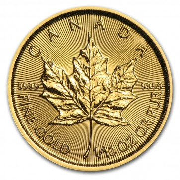 1/10 oz Gold Canadian Maple Leaf Coin Current Year