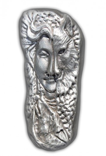 7 oz Silver Bison Bullion - Wolf Woman Bar