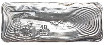 40 oz Silver Bison Bullion Hand poured Bar