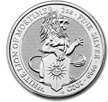 2 oz Silver Queen's Beasts The White Lion of Mortimer Coin 2020