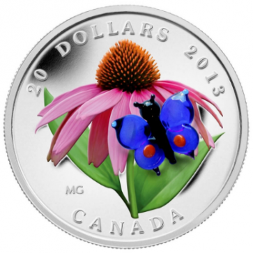 Silver RCM $20 Purple Coneflower and Eastern Tailed Blue Coin 2013