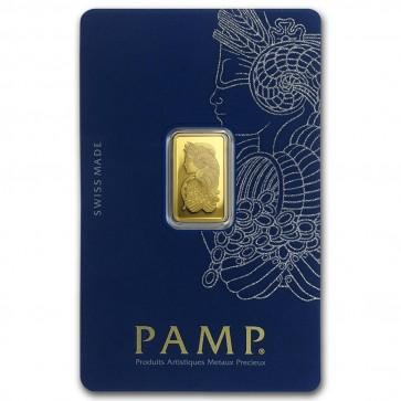 2.5 gram Gold PAMP Suisse Fortuna Veriscan Bar