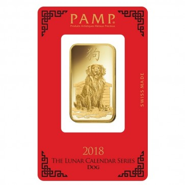 1 oz Gold PAMP Suisse Dog Bar