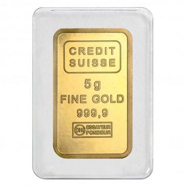 5 gram Gold Credit Suisse Liberty Bar