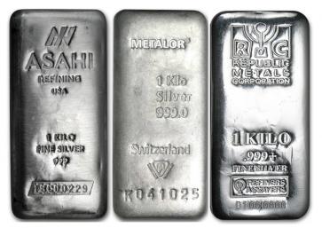 1 Kilo Silver Various Bars