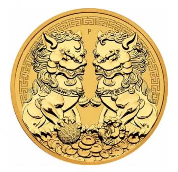 1 oz Gold Perth Mint Guardian Lions Double Pixiu Coin 2021