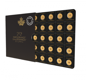25 x 1 gram Gold Maple Leafs Coin - Maplegram25™ 2021