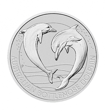 1.5 oz Silver Bottlenose Dolphin Perth Coin 2019