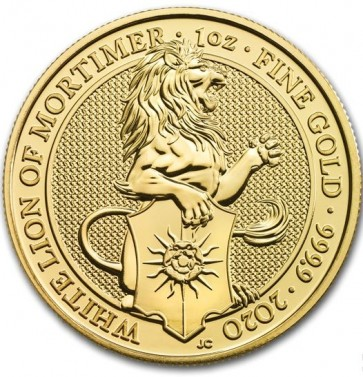 1 oz Gold Queen's Beasts The White Lion of Mortimer Coin 2020