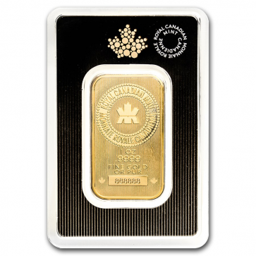 1 oz Gold Royal Canadian Mint Bar (NEW design)