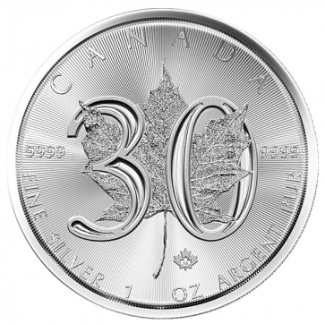 1 oz Silver 30th Anniversary Maple Leaf Coin 2018 BU