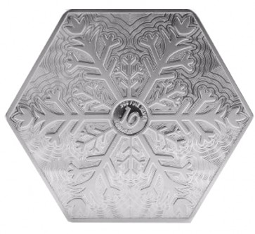 10 Oz Snowflake Hexagon Silver Bar 10 Oz Silver Snowflake