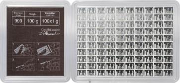 100 x 1 gram Silver Valcambi Combi Bar
