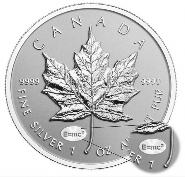 1 Oz Silver Canadian Maple Leaf E Mc2 Einstein Privy