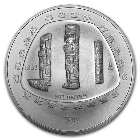 5 Oz Silver Mexico Atlantes Coin 1998