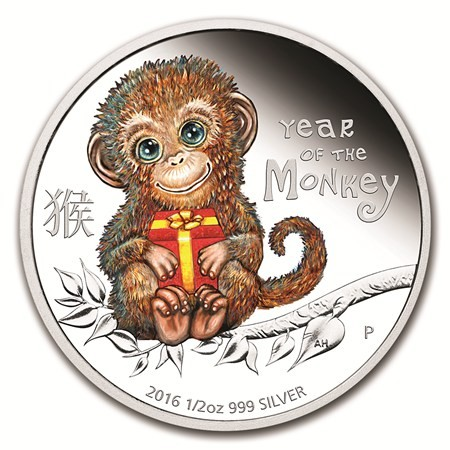 1 2 Oz Silver Perth Mint Baby Monkey Proof Coin 2016