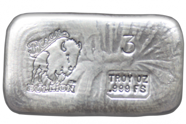 3 Oz Silver Bison Bullion Hand Poured Bar