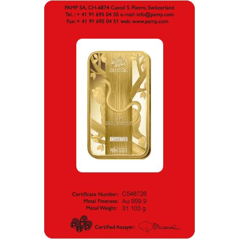 1 Oz Gold Pamp Suisse Lunar Monkey Bar The Bullion People