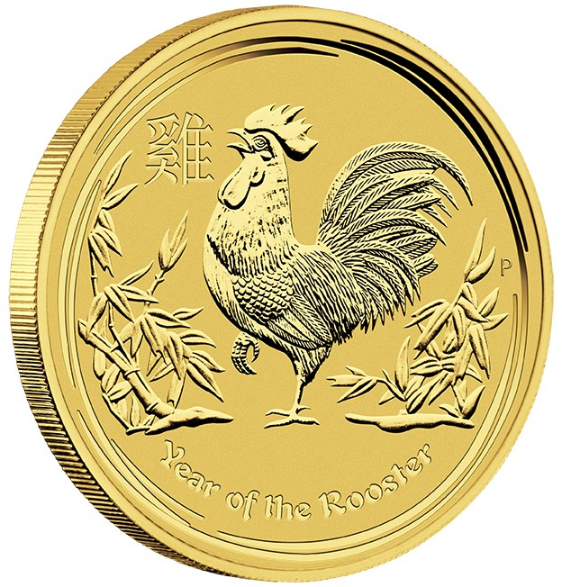 1 Oz Gold Perth Mint Year Of The Rooster Coin 2017