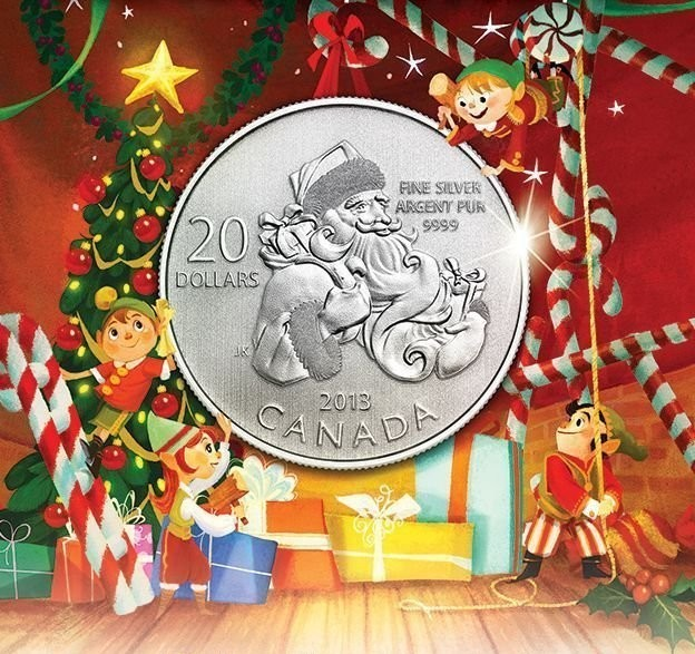 1 4 Oz Silver 20 For 20 Santa Coin 2013