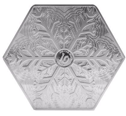 10 Oz Silver Snowflake Hexagon Bar